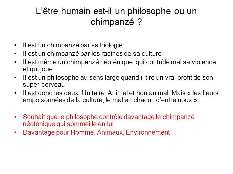 Lêtre humain est-il un philosophe ou un chimpanzé .