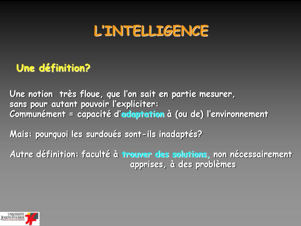 LINTELLIGENCE LINTELLIGENCE La mesurer Tests de QI (Binet 1904 en France et Wechsler, au début du 20ème siècle) et leurs adaptations diverses Ils mesurent bien ce qui est considéré comme lintelligence: - si on interroge un gd nombre de personnes sur ce quest lintelligence, - et que lon construit un test en fonction de leurs réponses, - alors ce test sera corrélé avec les tests de QI standards (Murphy et al.