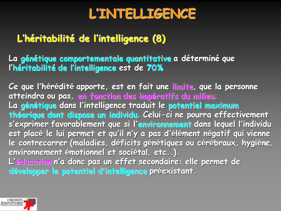 LINTELLIGENCE LINTELLIGENCE Lhéritabilité de lintelligence (9) Chez lanimal, les tests dintelligence sont évidemment moins élaborés que chez lhomme.