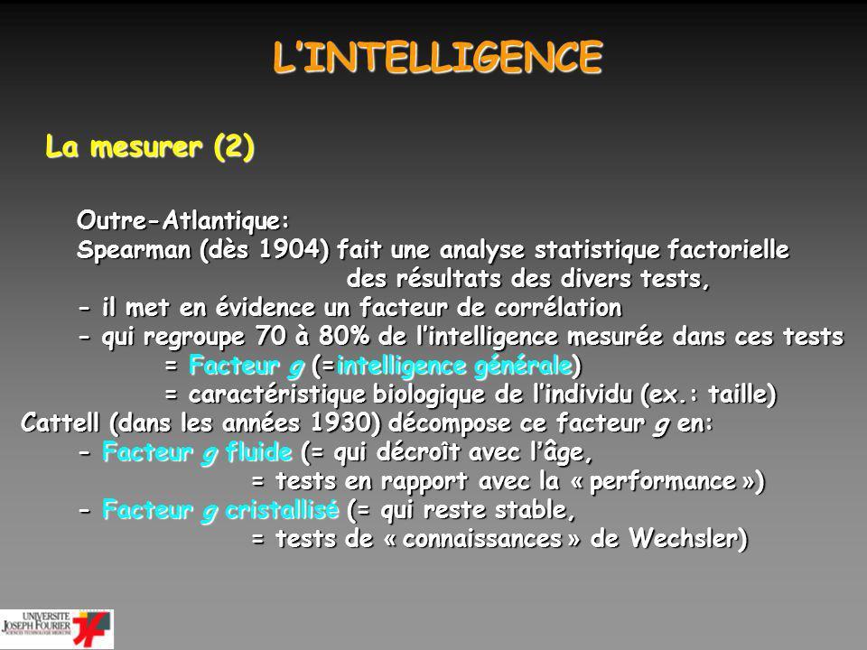 LINTELLIGENCE LINTELLIGENCE La mesurer (3) - ses variations Rien ne prouve que lévolution de lHomme se traduit par une plus grande intelligence au fil des civilisations Par contre, lhéritabilité de lintelligence est élevée.