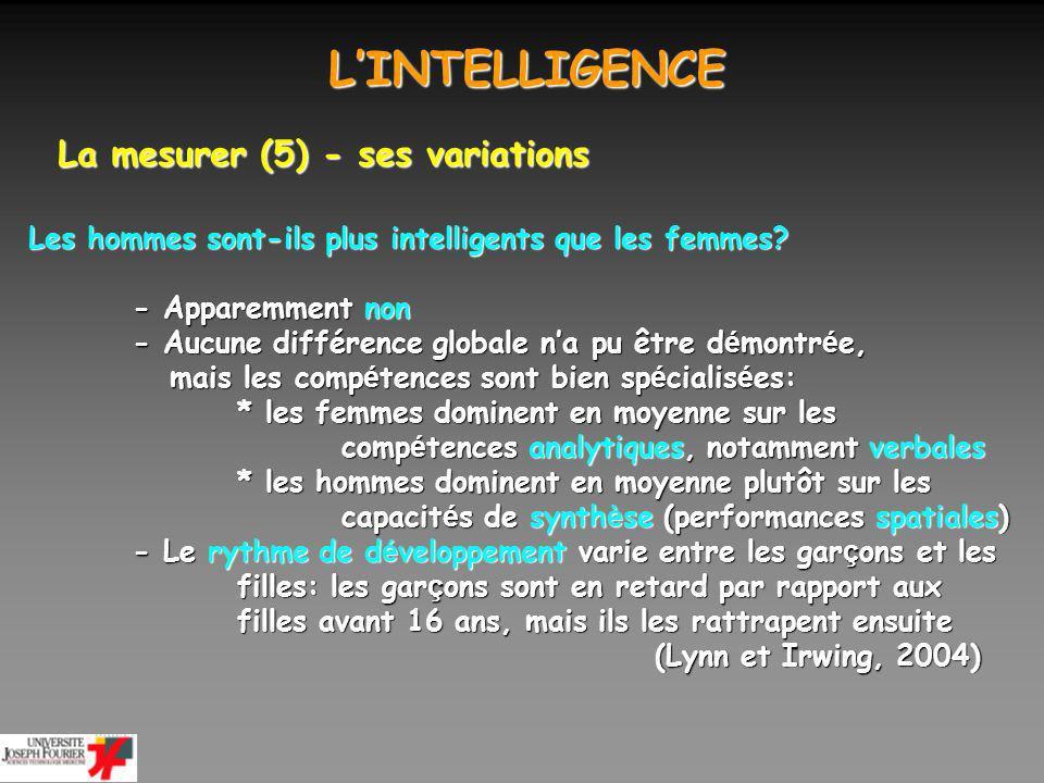 LINTELLIGENCE LINTELLIGENCE La mesurer (6) - ses variations Les hommes sont-ils plus intelligents que les femmes.