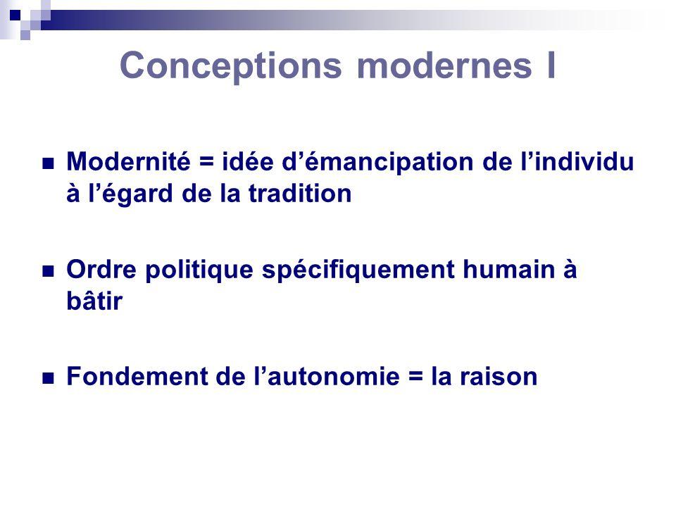 Modernité = idée démancipation de lindividu à légard de la tradition Ordre politique spécifiquement humain à bâtir Fondement de lautonomie = la raison