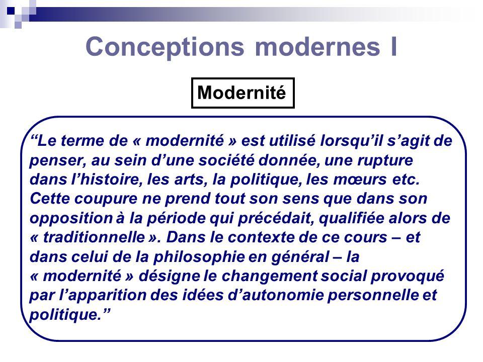 Conceptions modernes I Le terme de « modernité » est utilisé lorsquil sagit de penser, au sein dune société donnée, une rupture dans lhistoire, les ar