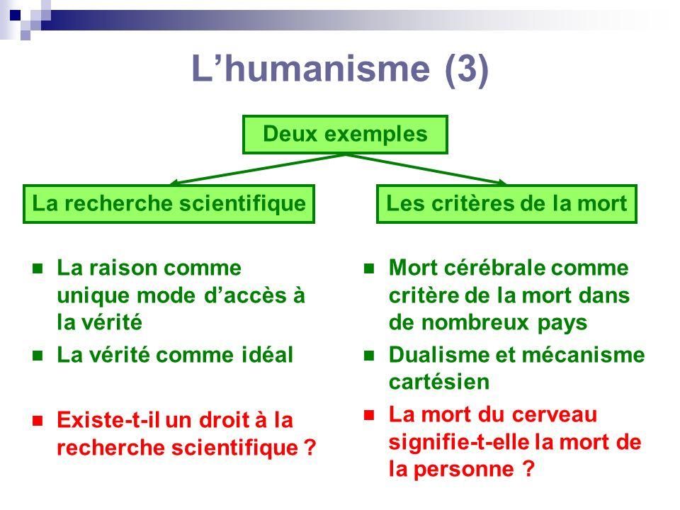 Lhumanisme (3) La raison comme unique mode daccès à la vérité La vérité comme idéal Existe-t-il un droit à la recherche scientifique ? Mort cérébrale