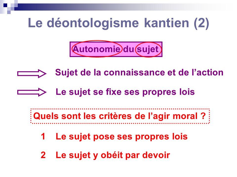 Le déontologisme kantien (2) Autonomie du sujet Sujet de la connaissance et de laction Le sujet se fixe ses propres lois Quels sont les critères de la