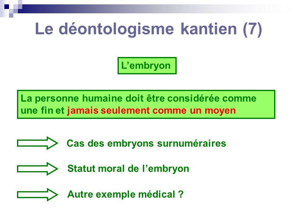 Le déontologisme kantien (7) Lembryon La personne humaine doit être considérée comme une fin et jamais seulement comme un moyen Cas des embryons surnu