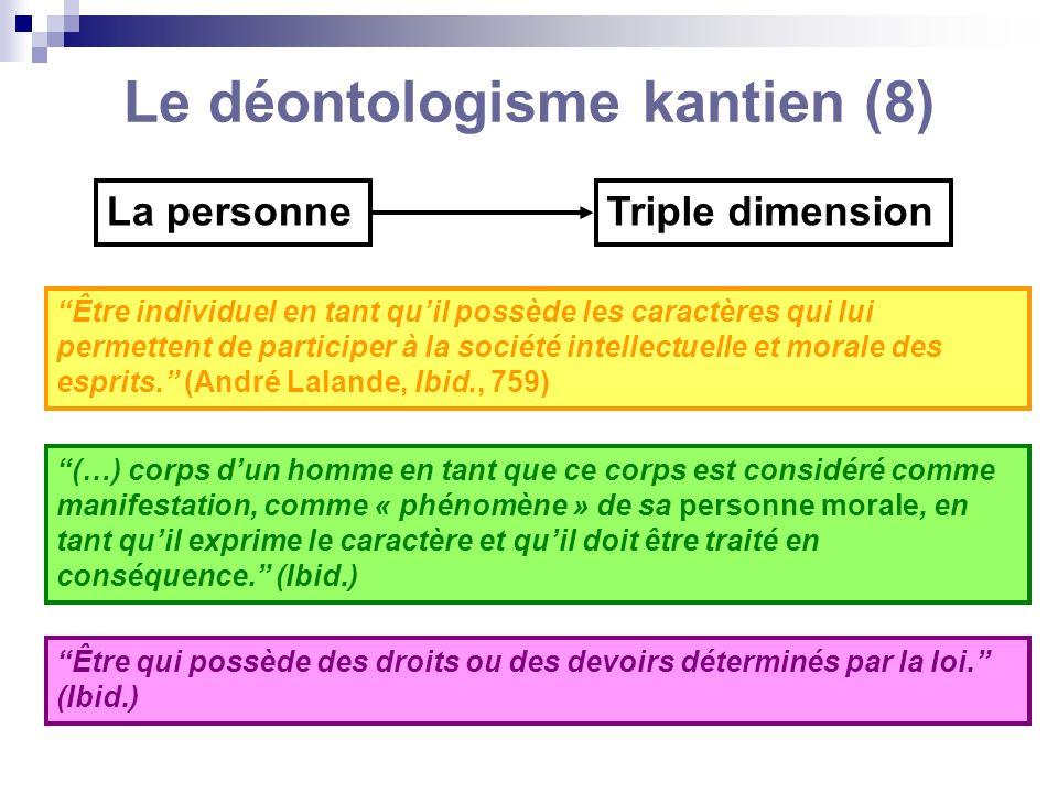Le déontologisme kantien (8) La personneTriple dimension Être individuel en tant quil possède les caractères qui lui permettent de participer à la soc