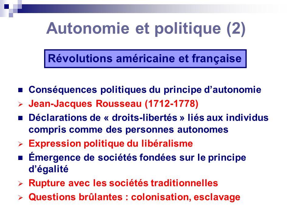 Autonomie et politique (2) Révolutions américaine et française Conséquences politiques du principe dautonomie Jean-Jacques Rousseau (1712-1778) Déclar
