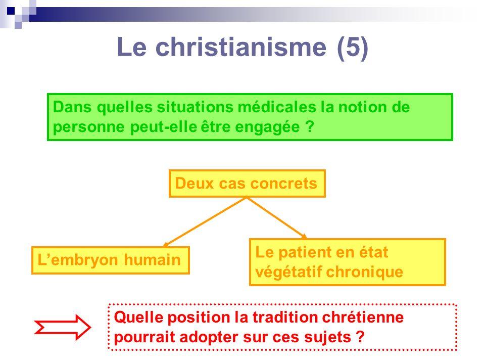Le christianisme (5) Dans quelles situations médicales la notion de personne peut-elle être engagée ? Deux cas concrets Lembryon humain Le patient en