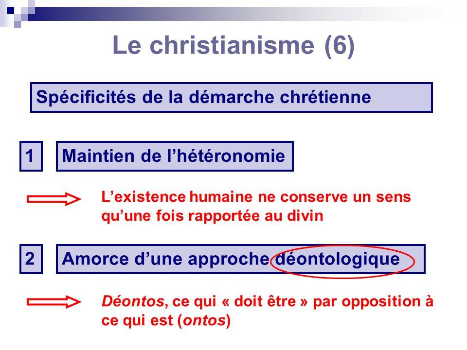 Le christianisme (7) La méthodologie chrétienne La casuistique Étude des cas de conscience, cest-à-dire des problèmes de détail qui résultent de lapplication des règles éthiques à chaque circonstance particulière (stoïciens, moralistes chrétiens, Kant).