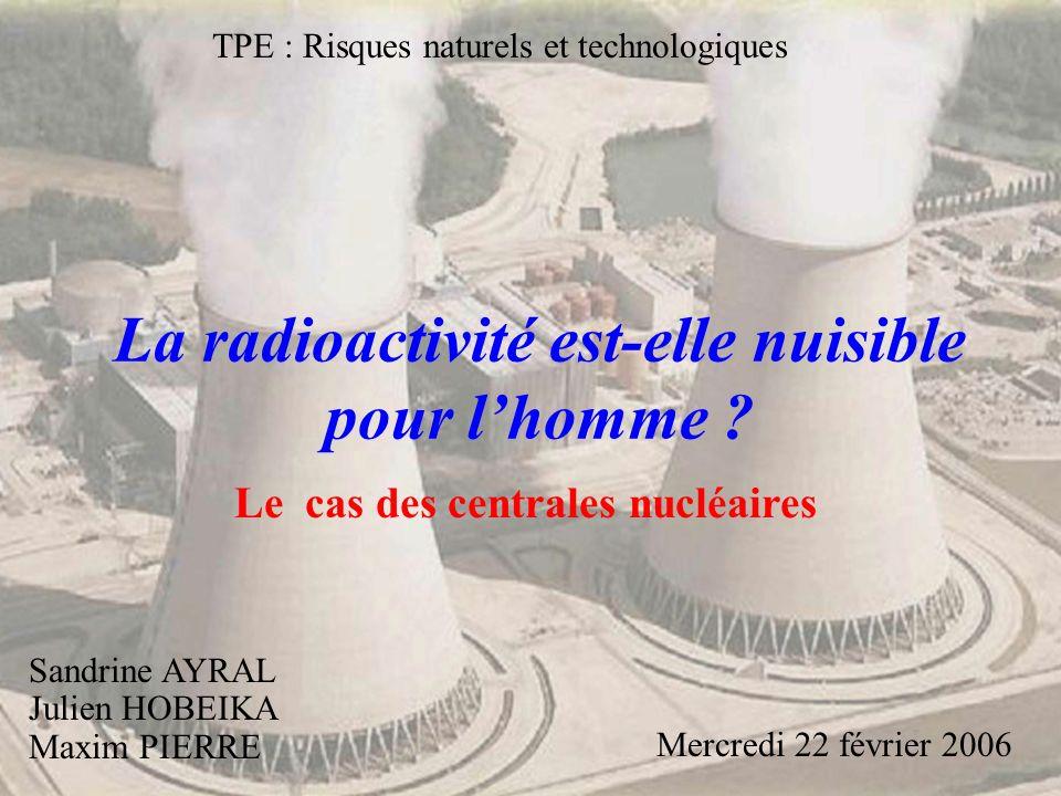 La radioactivité est-elle nuisible pour lhomme ? Sandrine AYRAL Julien HOBEIKA Maxim PIERRE Mercredi 22 février 2006 TPE : Risques naturels et technol