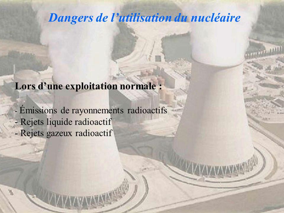 Dangers de lutilisation du nucléaire Lors dune exploitation normale : - Émissions de rayonnements radioactifs - Rejets liquide radioactif - Rejets gaz