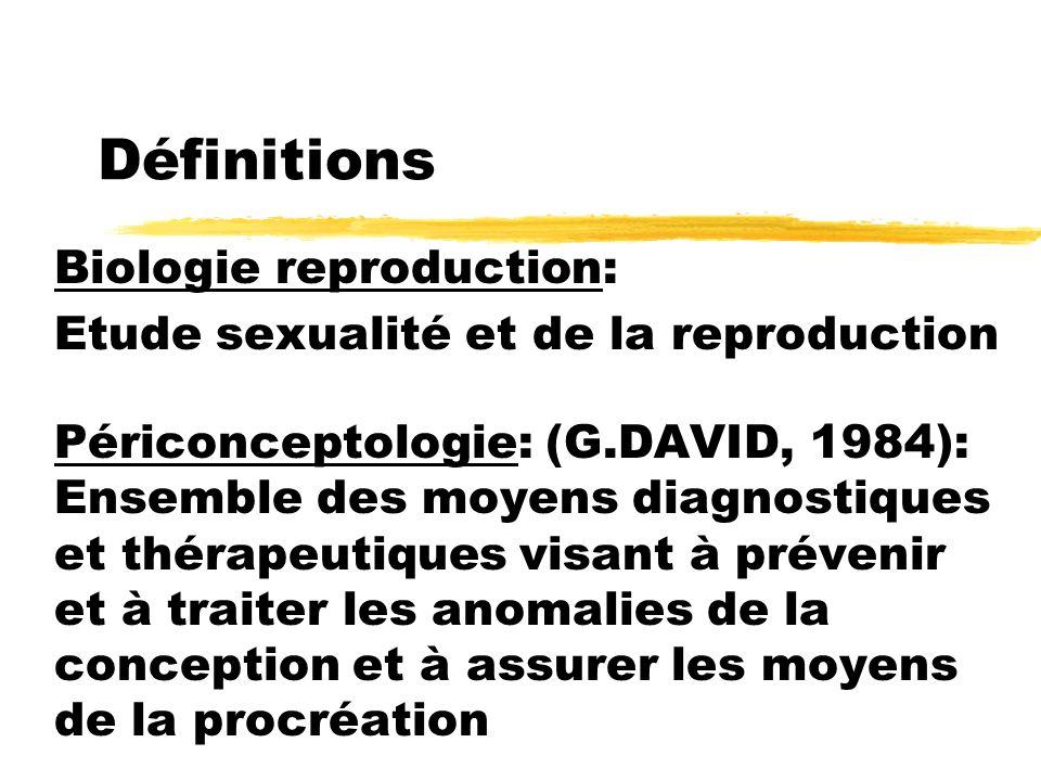 Définitions Biologie reproduction: Etude sexualité et de la reproduction Périconceptologie: (G.DAVID, 1984): Ensemble des moyens diagnostiques et thér