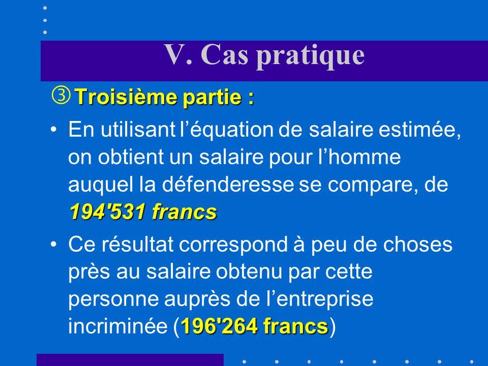 V. Cas pratique Deuxième partie : ' Deuxième partie : une pénalité salariale de 21,3%Toutes choses égales par ailleurs, les femmes occupées auprès de