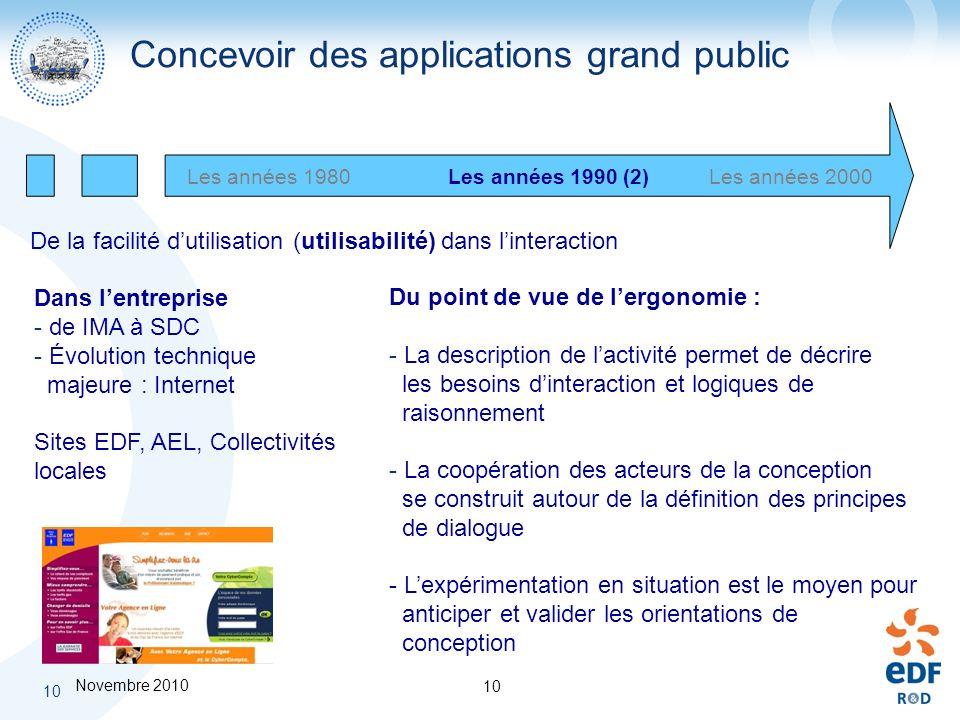 Novembre 2010 10 Les années 1980Les années 2000Les années 1990 (2) Dans lentreprise - de IMA à SDC - Évolution technique majeure : Internet Sites EDF,