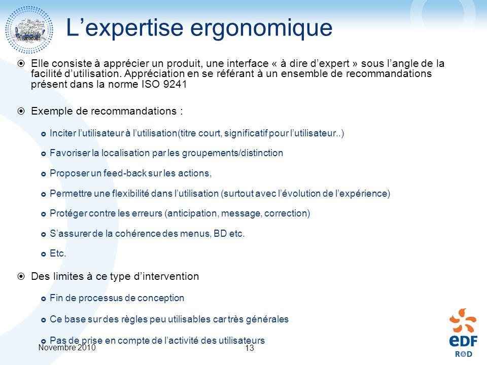Novembre 2010 13 Lexpertise ergonomique Elle consiste à apprécier un produit, une interface « à dire dexpert » sous langle de la facilité dutilisation