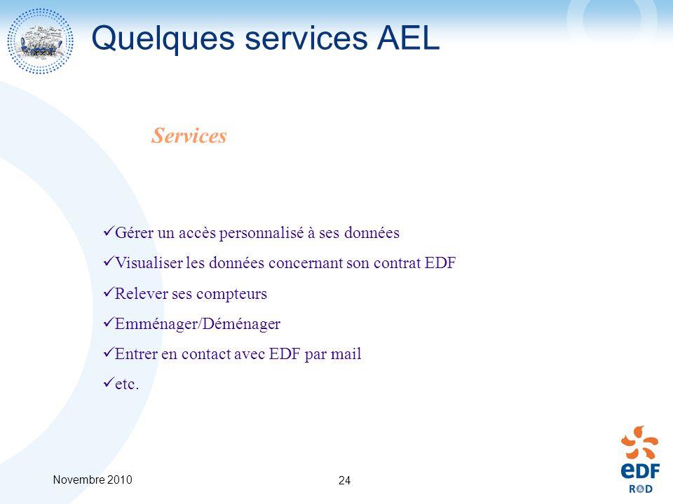 Novembre 2010 24 Quelques services AEL Gérer un accès personnalisé à ses données Visualiser les données concernant son contrat EDF Relever ses compteu