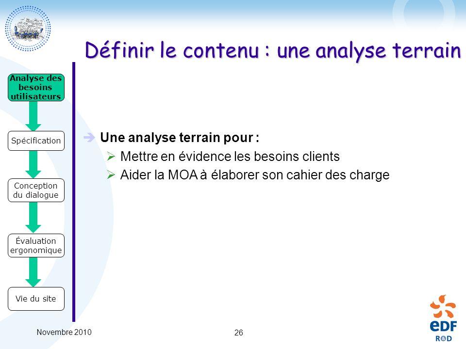 Novembre 2010 26 Définir le contenu : une analyse terrain Une analyse terrain pour : Mettre en évidence les besoins clients Aider la MOA à élaborer so