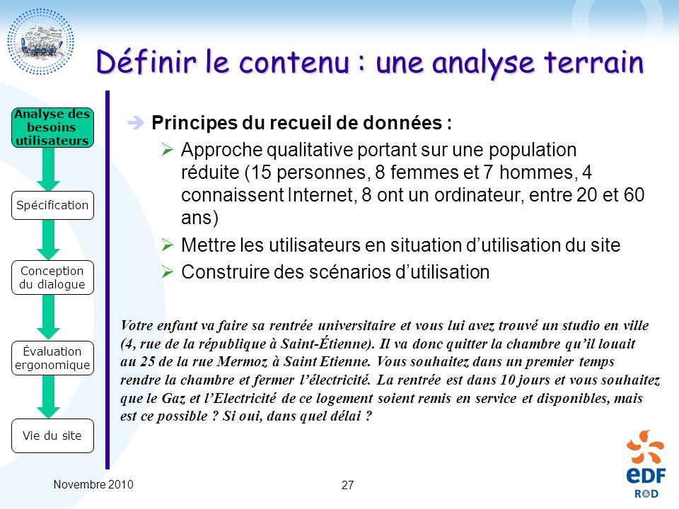 Novembre 2010 27 Analyse des besoins utilisateurs Spécification Conception du dialogue Évaluation ergonomique Vie du site Principes du recueil de donn