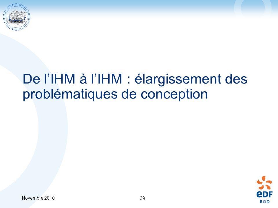 Novembre 2010 39 De lIHM à lIHM : élargissement des problématiques de conception