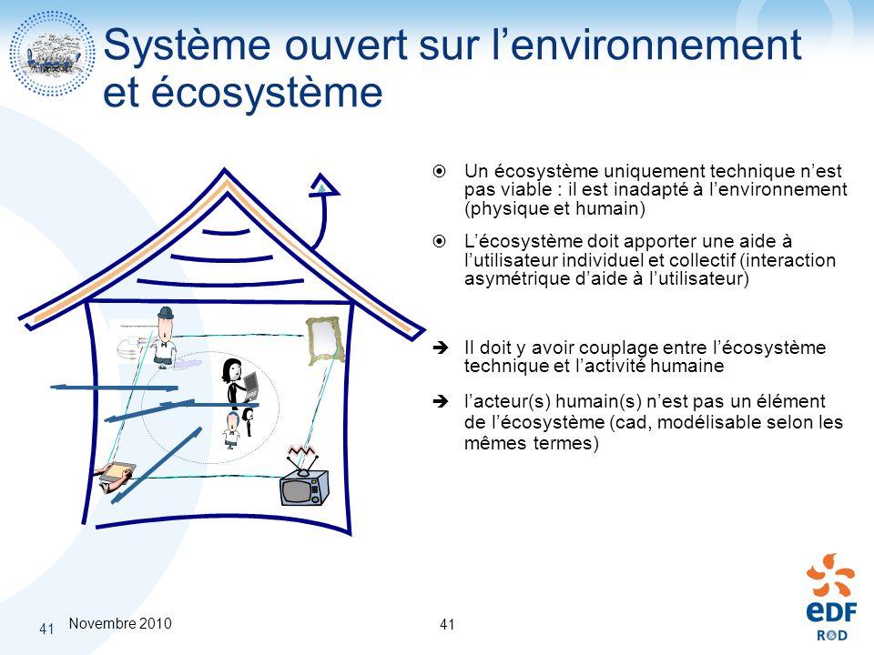 Novembre 2010 41 Système ouvert sur lenvironnement et écosystème Un écosystème uniquement technique nest pas viable : il est inadapté à lenvironnement
