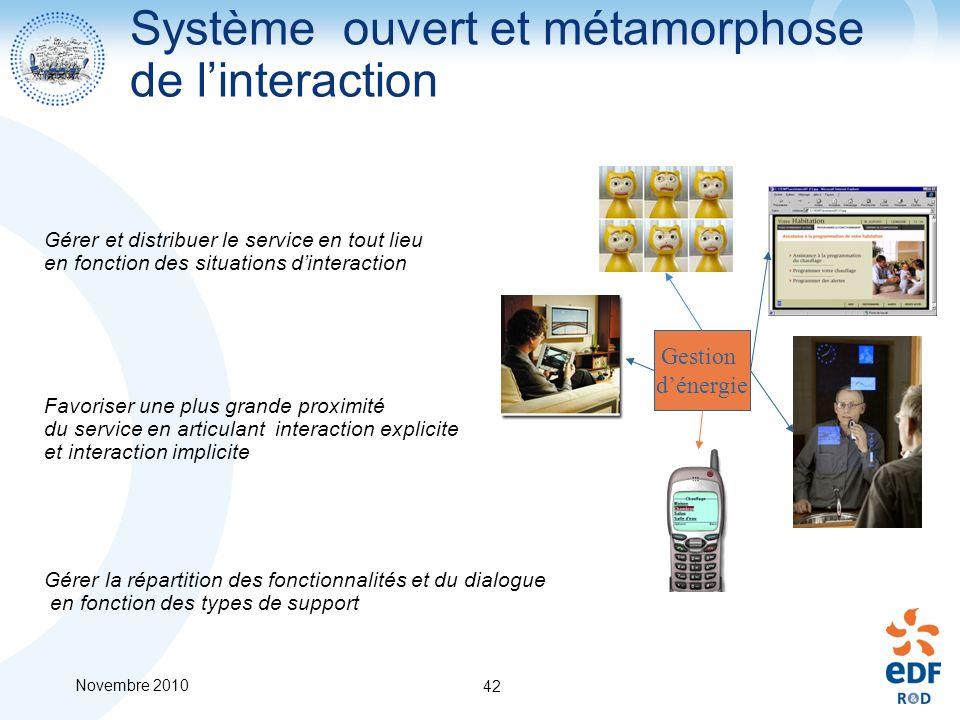 Novembre 2010 42 Système ouvert et métamorphose de linteraction Favoriser une plus grande proximité du service en articulant interaction explicite et