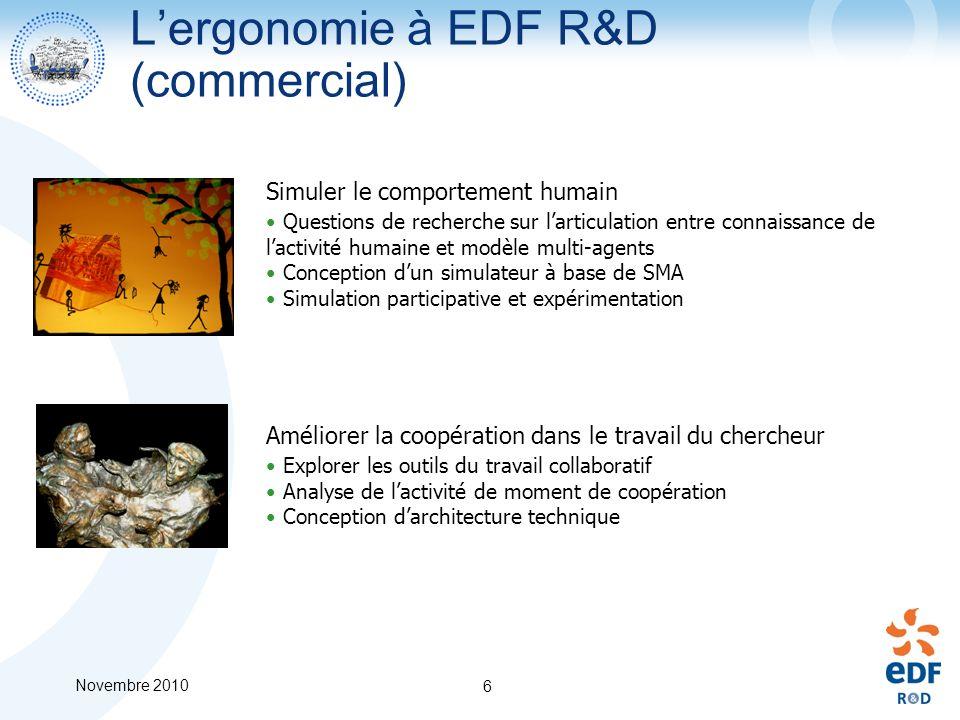 Novembre 2010 6 Lergonomie à EDF R&D (commercial) Simuler le comportement humain Questions de recherche sur larticulation entre connaissance de lactiv
