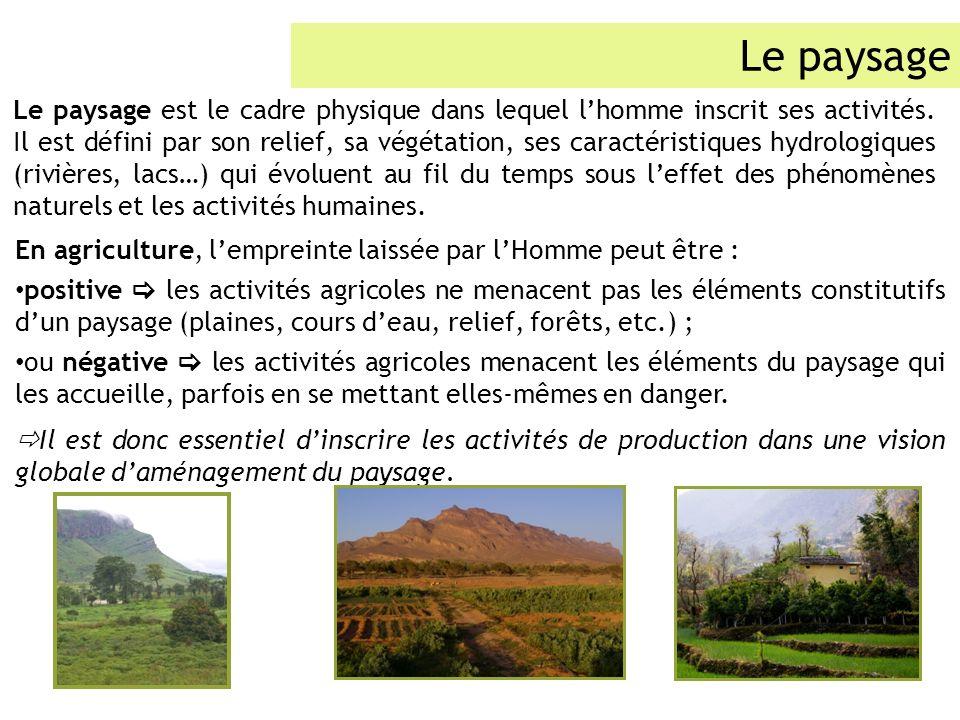 En agriculture, lempreinte laissée par lHomme peut être : positive les activités agricoles ne menacent pas les éléments constitutifs dun paysage (plai