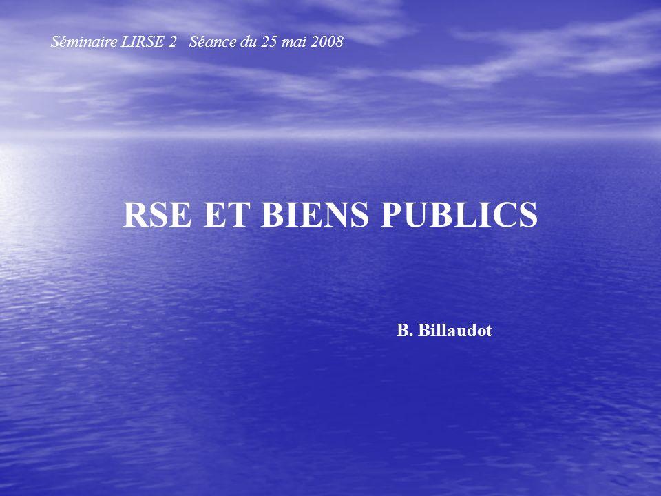 RSE ET BIENS PUBLICS Séminaire LIRSE 2 Séance du 25 mai 2008 B. Billaudot