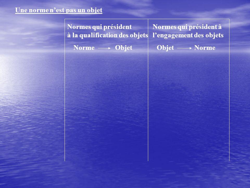 Une norme nest pas un objet Normes qui président à la qualification des objets NormeObjet Normes qui président à lengagement des objets ObjetNorme