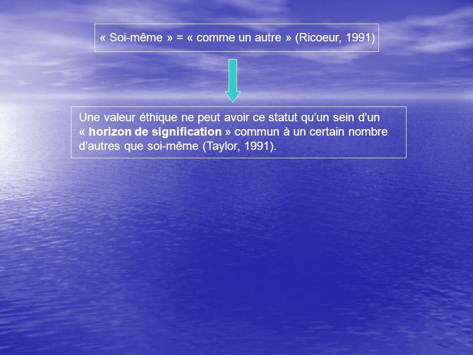 Une valeur éthique ne peut avoir ce statut quun sein dun « horizon de signification » commun à un certain nombre dautres que soi-même (Taylor, 1991).