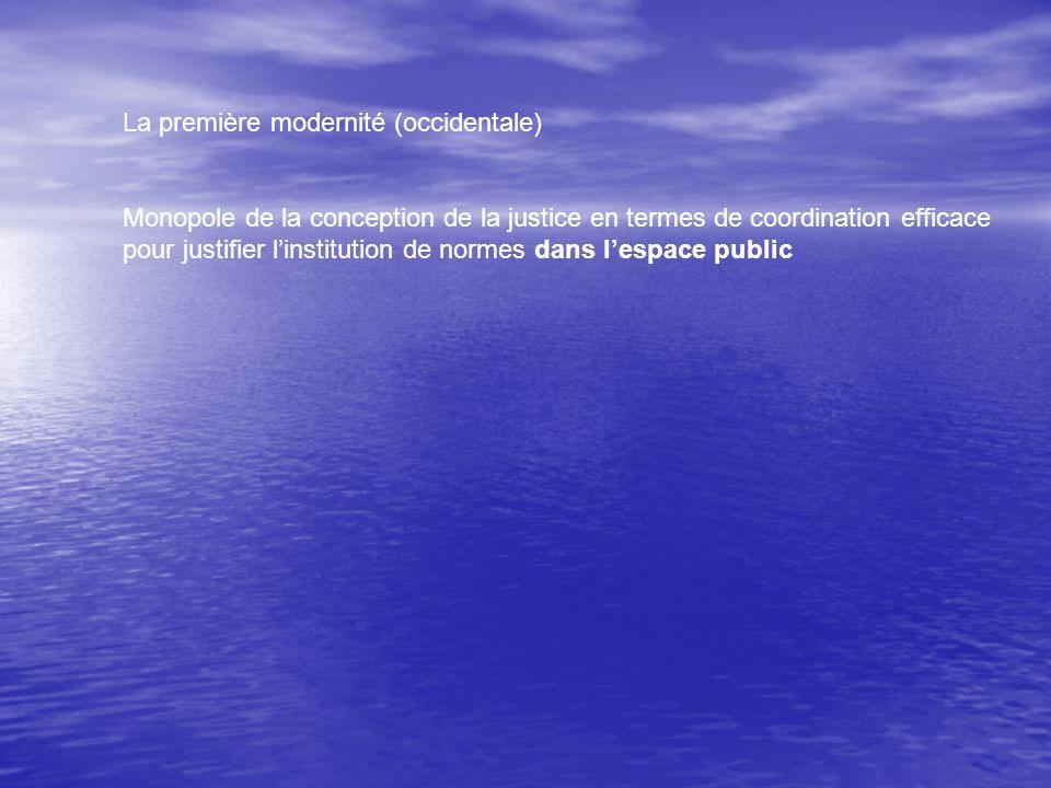 La première modernité (occidentale) Monopole de la conception de la justice en termes de coordination efficace pour justifier linstitution de normes dans lespace public