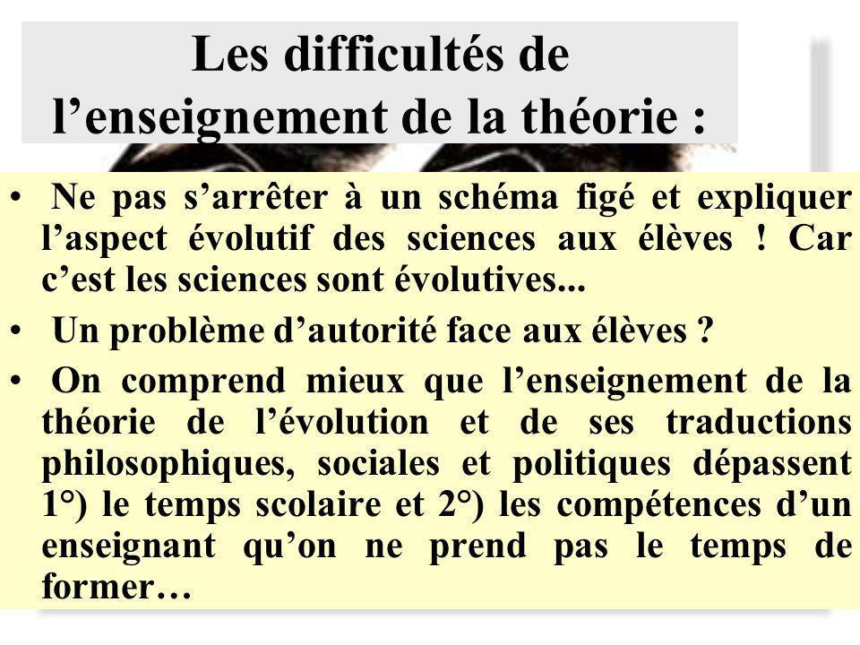 Les difficultés de lenseignement de la théorie : Ne pas sarrêter à un schéma figé et expliquer laspect évolutif des sciences aux élèves .