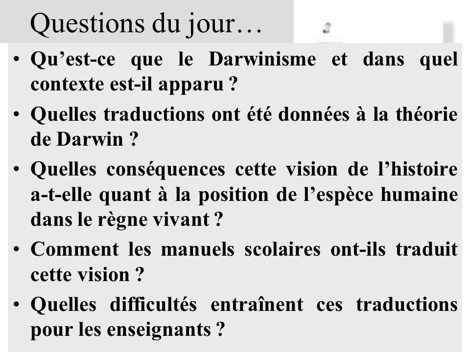 Questions du jour… Quest-ce que le Darwinisme et dans quel contexte est-il apparu ? Quelles traductions ont été données à la théorie de Darwin ? Quell