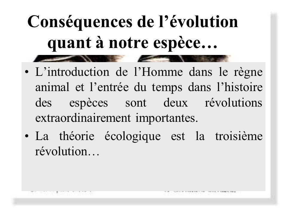 Conséquences de lévolution quant à notre espèce… Lintroduction de lHomme dans le règne animal et lentrée du temps dans lhistoire des espèces sont deux révolutions extraordinairement importantes.