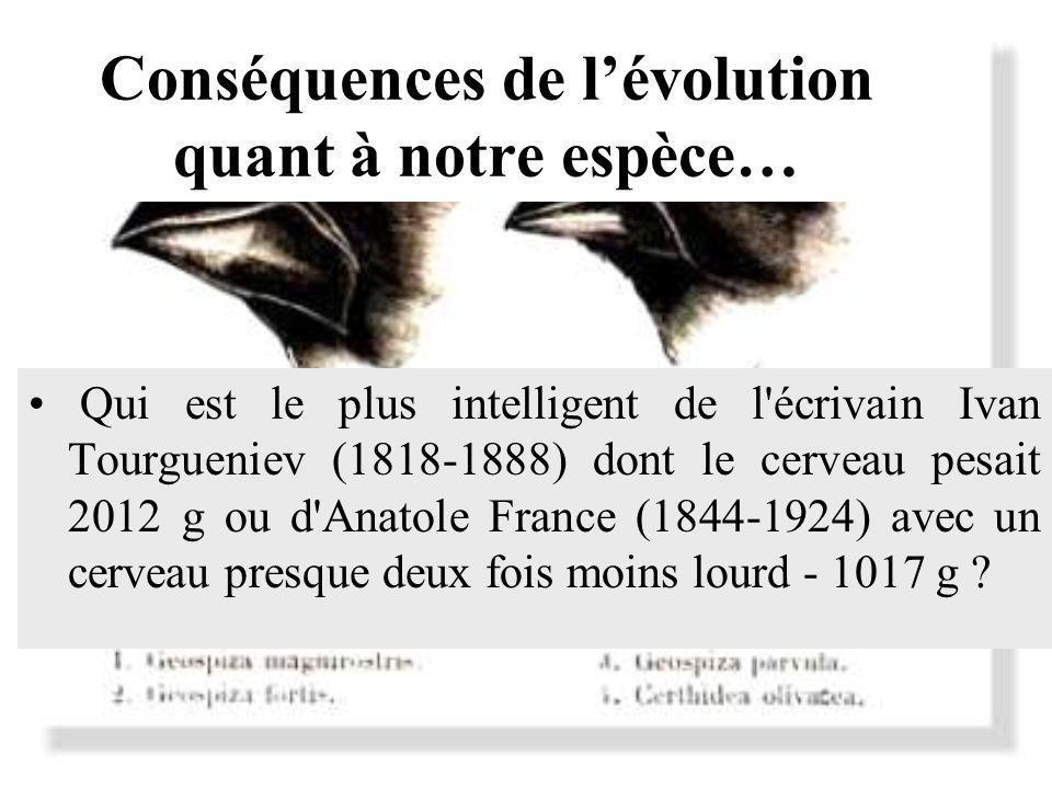 Conséquences de lévolution quant à notre espèce… Qui est le plus intelligent de l'écrivain Ivan Tourgueniev (1818-1888) dont le cerveau pesait 2012 g