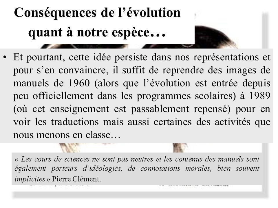 Conséquences de lévolution quant à notre espèce … Et pourtant, cette idée persiste dans nos représentations et pour sen convaincre, il suffit de repre