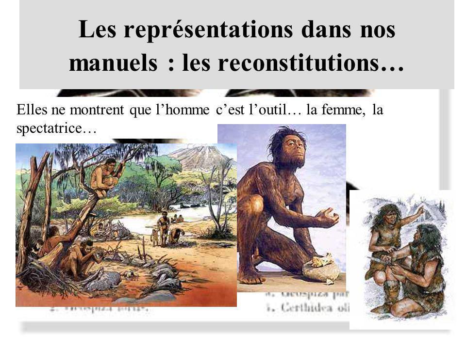 Les représentations dans nos manuels : les reconstitutions… Elles ne montrent que lhomme cest loutil… la femme, la spectatrice…