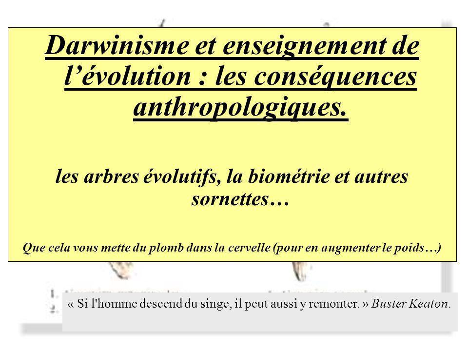 Les difficultés de lenseignement de la théorie : Les aspects contre intuitifs de lévolution ; les aspects insensibles et non-empiriques de lévolution ; Mais surtout : le lien de parenté avec les autres primates.
