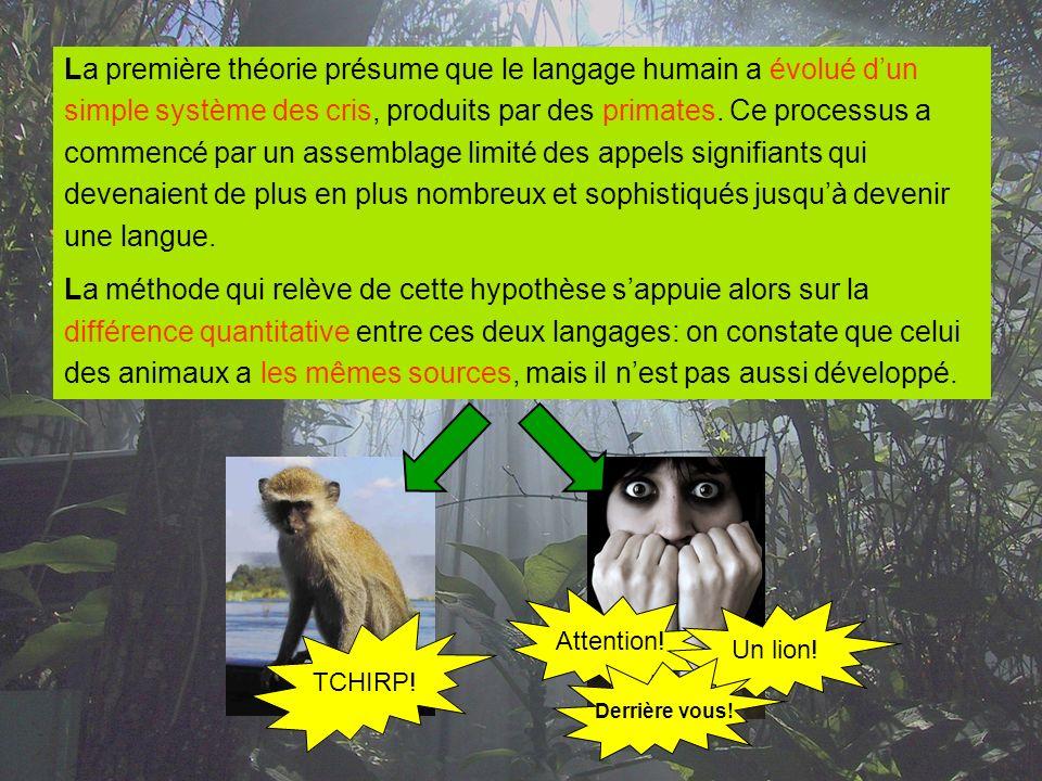 La première théorie présume que le langage humain a évolué dun simple système des cris, produits par des primates. Ce processus a commencé par un asse