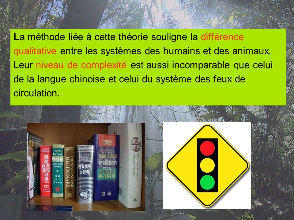 La méthode liée à cette théorie souligne la différence qualitative entre les systèmes des humains et des animaux. Leur niveau de complexité est aussi