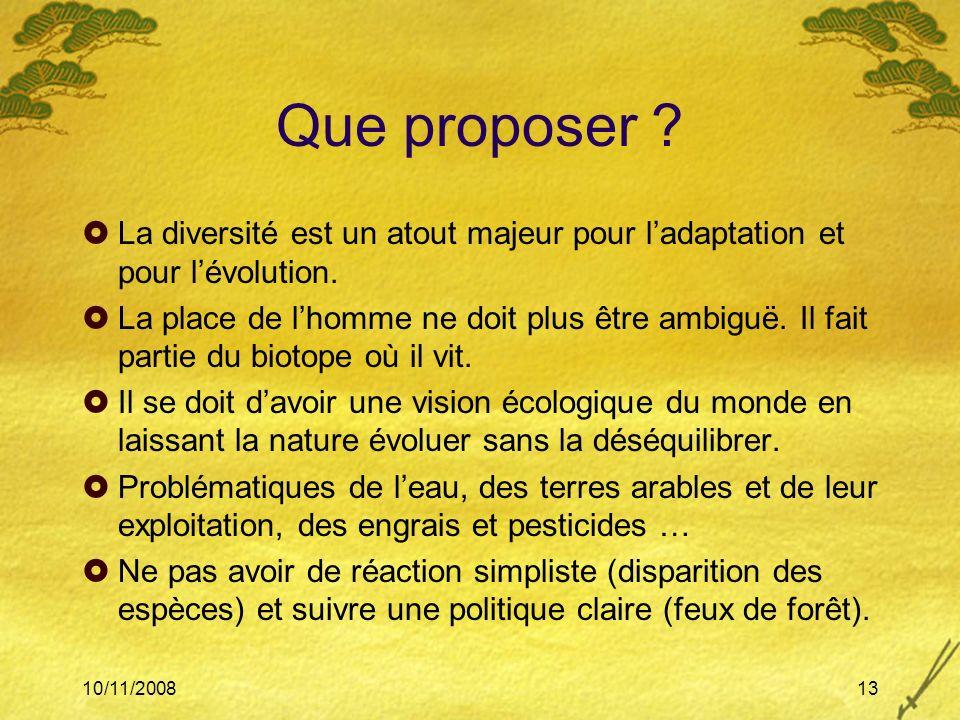 10/11/200813 Que proposer ? La diversité est un atout majeur pour ladaptation et pour lévolution. La place de lhomme ne doit plus être ambiguë. Il fai
