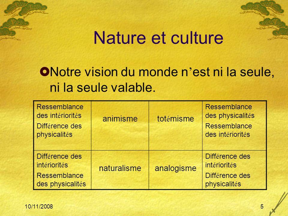10/11/20085 Nature et culture Notre vision du monde n est ni la seule, ni la seule valable. Ressemblance des int é riorit é s Diff é rence des physica