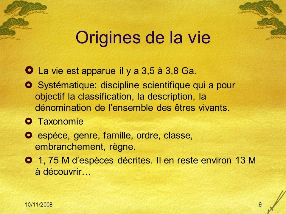 10/11/20089 Origines de la vie La vie est apparue il y a 3,5 à 3,8 Ga. Systématique: discipline scientifique qui a pour objectif la classification, la
