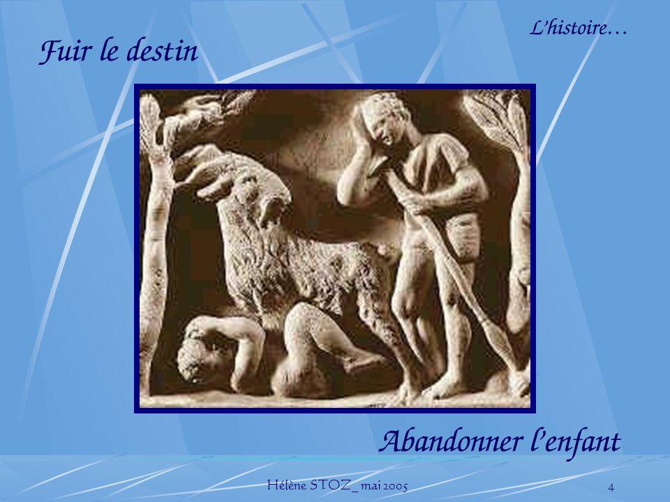 Hélène STOZ_ mai 20054 Lhistoire… Fuir le destin Abandonner lenfant