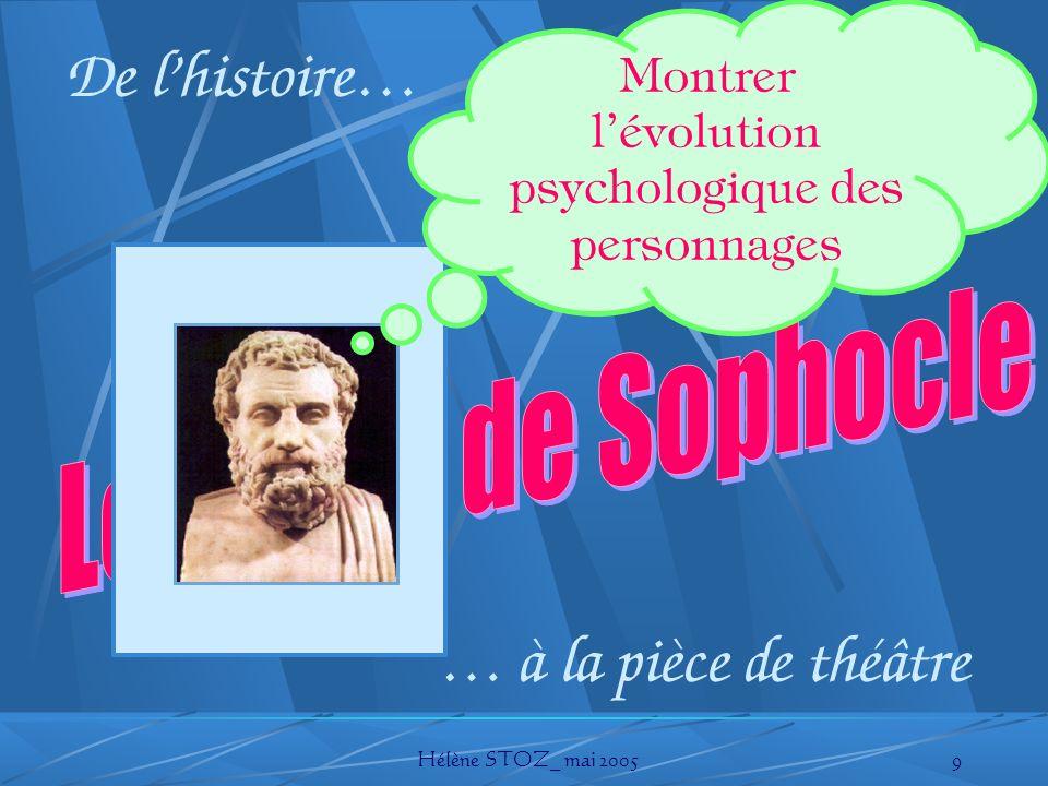 Hélène STOZ_ mai 20059 De lhistoire… … à la pièce de théâtre Montrer lévolution psychologique des personnages