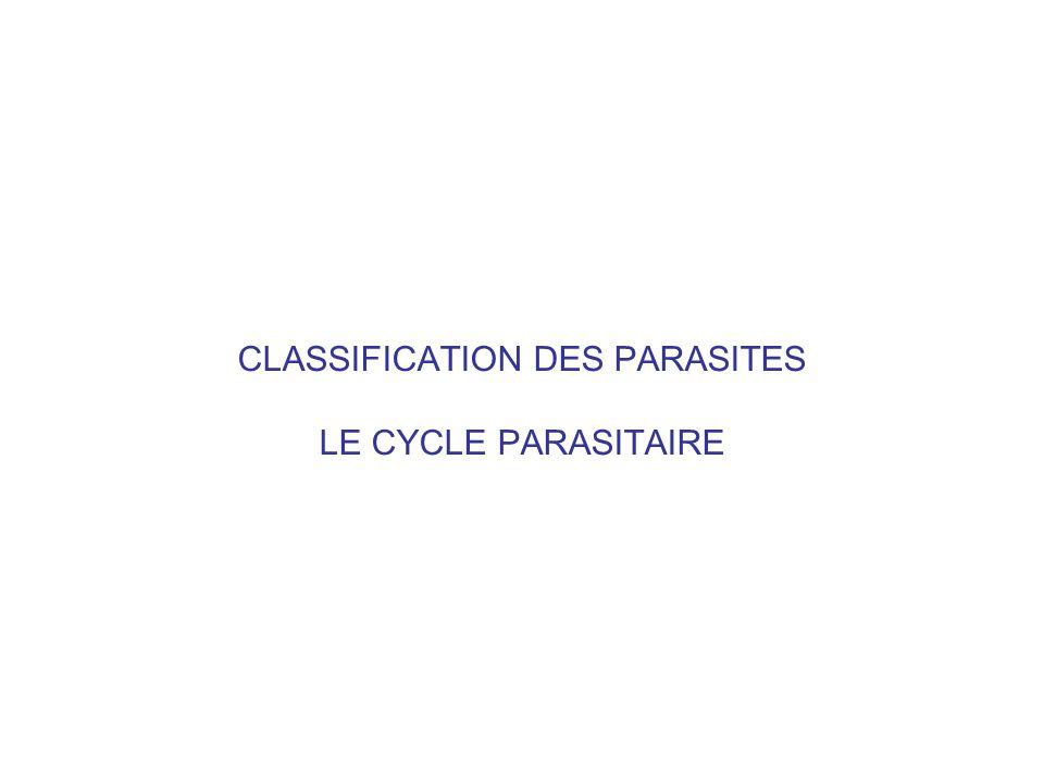 CLASSIFICATION DES PARASITES LE CYCLE PARASITAIRE