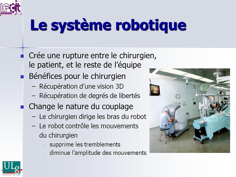 Le système robotique Crée une rupture entre le chirurgien, le patient, et le reste de léquipe Crée une rupture entre le chirurgien, le patient, et le