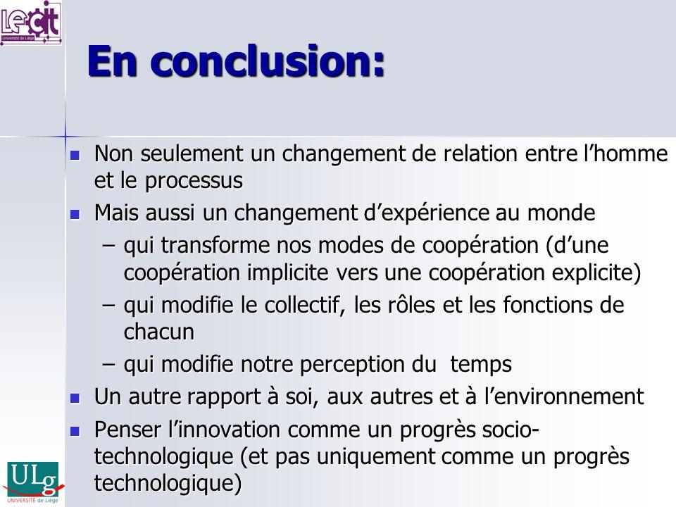 En conclusion: Non seulement un changement de relation entre lhomme et le processus Non seulement un changement de relation entre lhomme et le process
