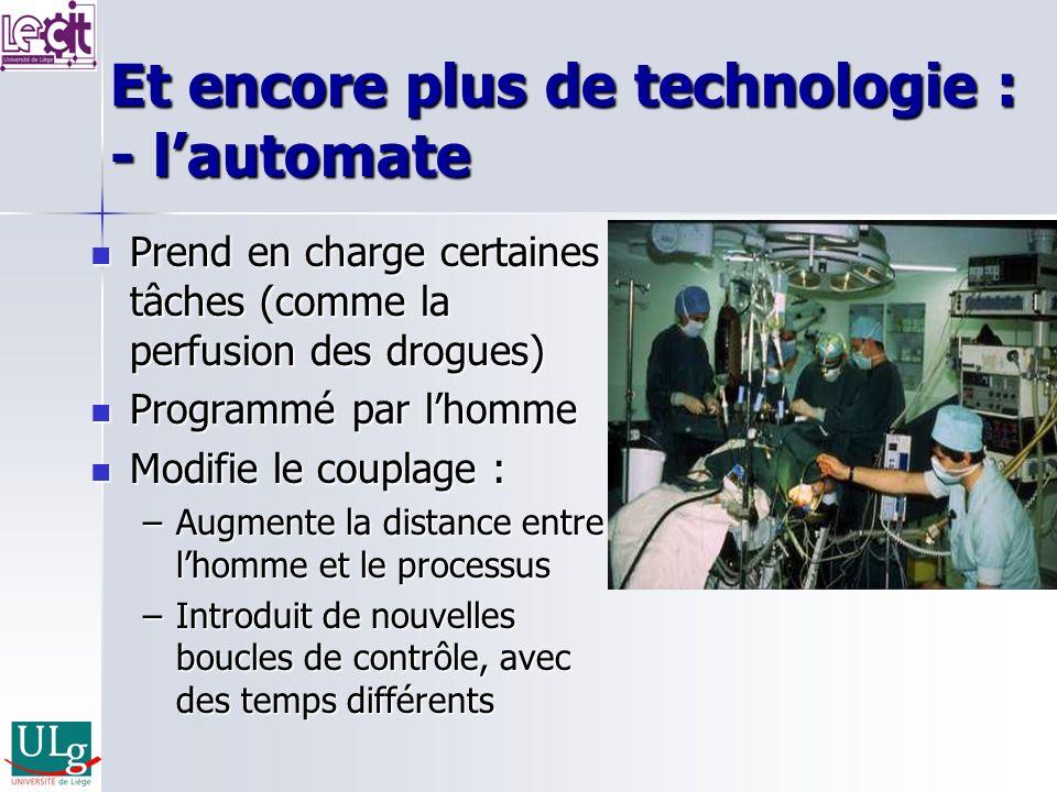 Et encore plus de technologie : - lautomate Prend en charge certaines tâches (comme la perfusion des drogues) Prend en charge certaines tâches (comme